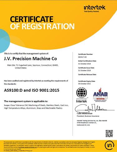 JVP has recently upgraded its QMS status to AS9100D:2016 & ISO 9001:2015